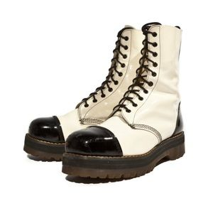 Vintage Dr Marten Boots Black and White Leather